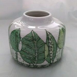 Other - Green Leaf Porcelain Vase West Germany